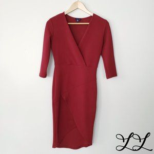 UK2LA Dress Red High Low Cross Over V Neck Sexy